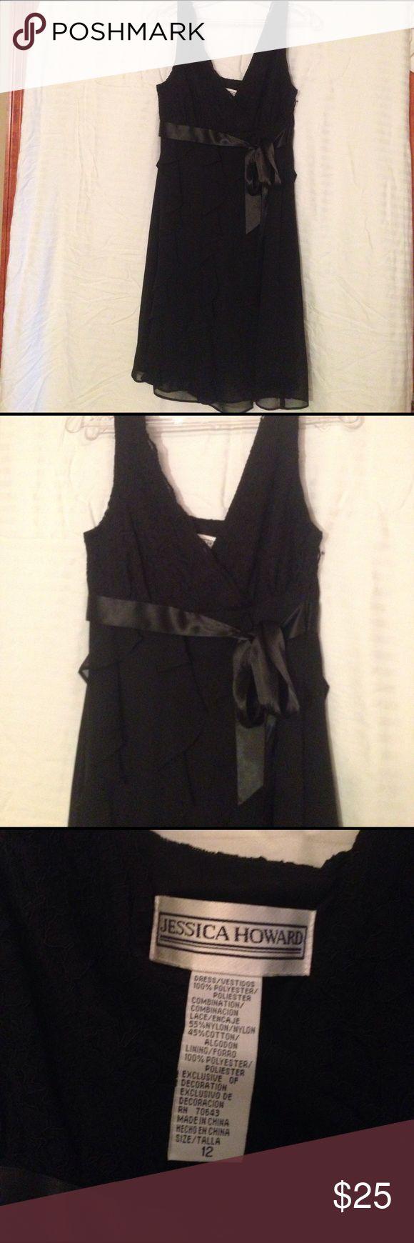 Black Ruffle knee length dress Side zip, scallop lace V-neckline. Ruffles all around skirt Jessica Howard Dresses Mini