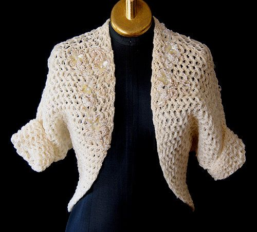 Awesome 1950's  beaded bolero sweater with sequins and beading pin up  bombshell rockabilly - Medium to Large