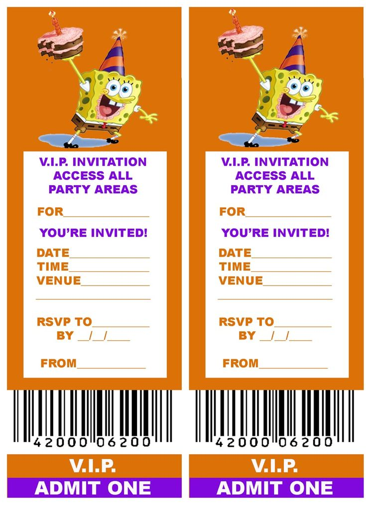 112 best spongebob party images on pinterest | spongebob birthday, Invitation templates