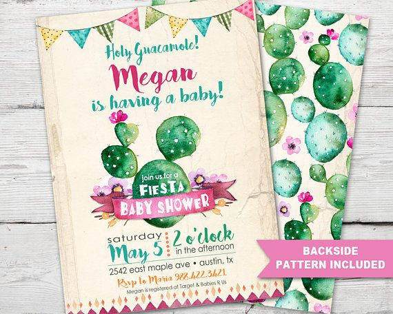Fiesta Baby Shower Invitation, Fiesta Invitation, Fiesta Baby Shower, Cactus Baby Shower Invitation, Cinco De Mayo Baby Shower, PRINTABLE from PartyMonkey on Etsy