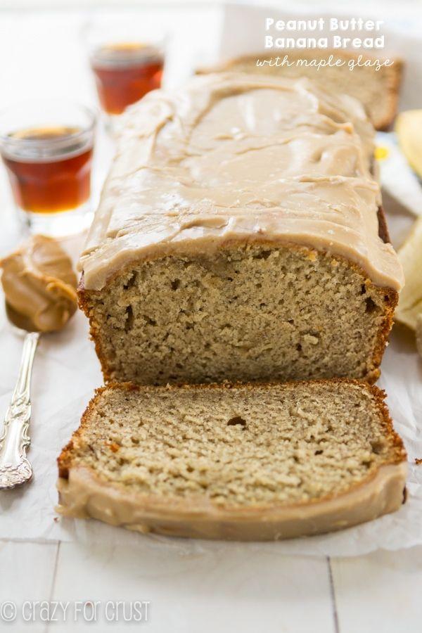 Peanut Butter Banana Bread with maple glaze