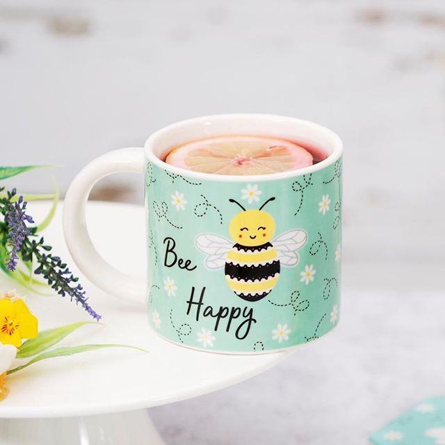 كوب النحلة المبسوطة من الاكواب اللطيفة بالموقع Bee Happy Sass Belle Mugs