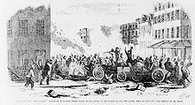 """View of fight between two gangs, the """"Dead Rabbits"""" and the """"Bowery Boys"""" in the Sixth Ward, New York City"""
