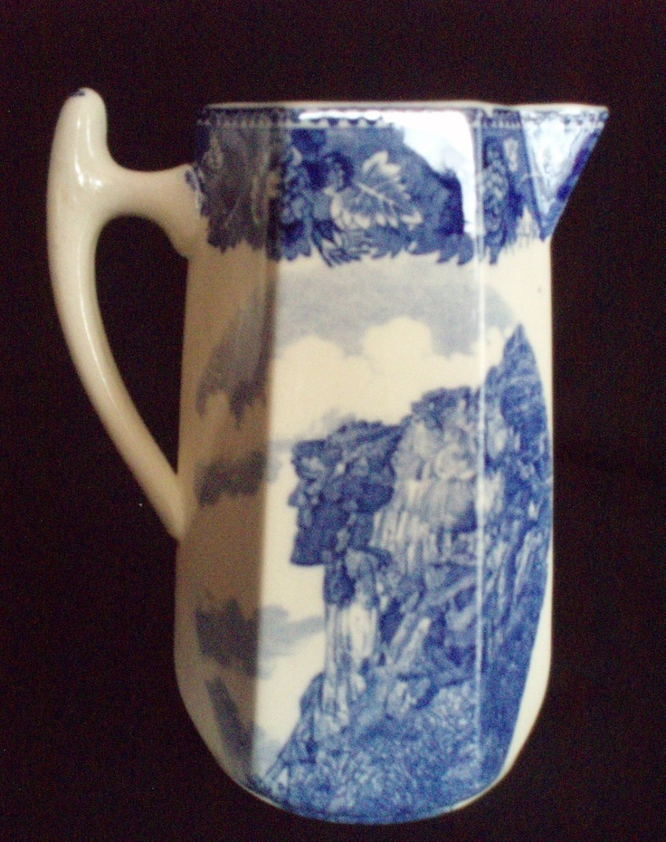 """Wedgwood Pitcher """"Old Man of the Mountain"""" flow blue antique ships free  $225.00 OBO"""