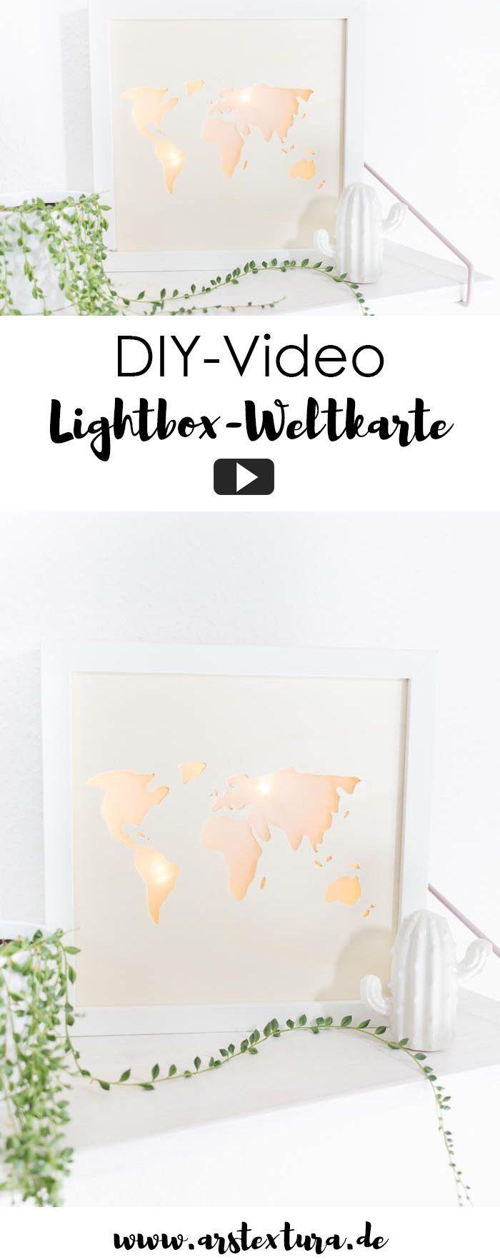 Beleuchtete Weltkarte - DIY Lightbox basteln