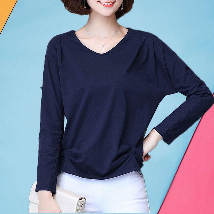 High quality cotton t-shirt woman M - 5XL plus size batwing long sleeve t shirt female 2017 autumn winter plus size tops fashion #Affiliate