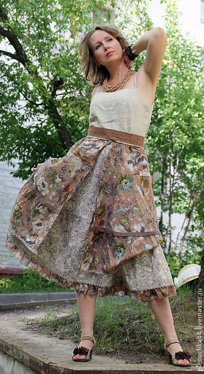 """Купить Юбка в стиле бохо """"Орнамент лета"""" - бежевый, орнамент, песочный цвет, длинная юбка"""