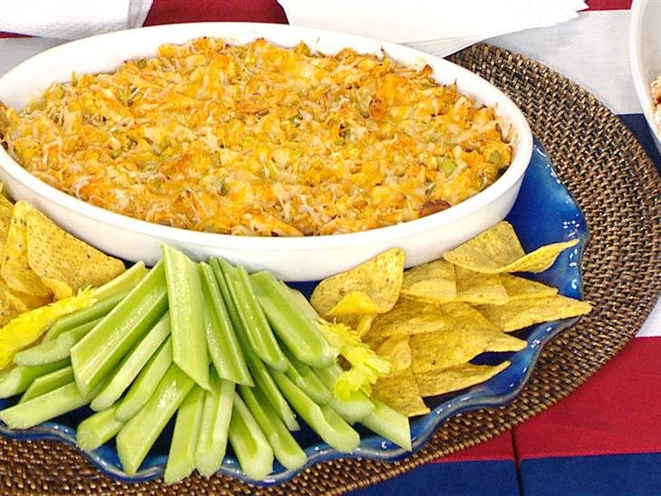 Buffalo chicken dip - low fat  1 roasted chicken, shredded 1 cup of chopped celery 1/4 cup of yogurt 1/4 cup of hot sauce 1/2 cup of shredded cheddar ...