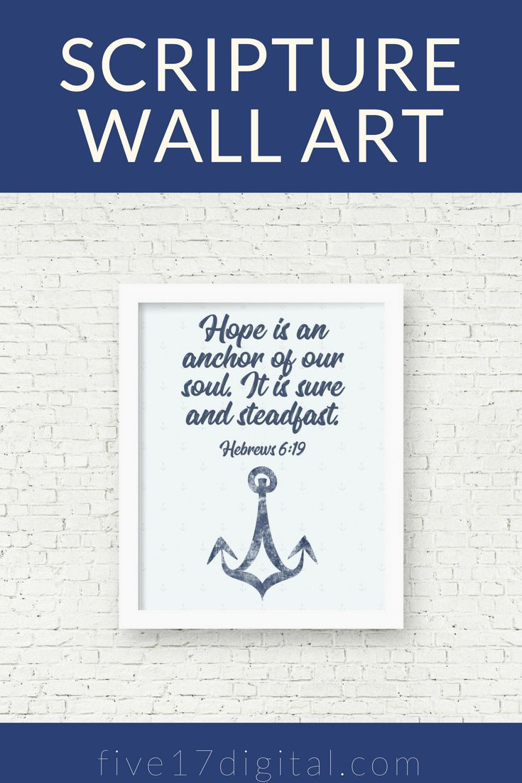 This nautical wall art with Hebrews 6:19 featuring anchors would look great in your Christian home. This Scripture printable would be make a great gift for your Christian friends who have a lake house or beach house.