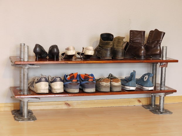 Happy Wife-Happy Life! Easy to do Hight adjustable Shoe Shelf, Made from scaffolding Parts, with Polished Stainless Steel Rings on Top by Falkenberg