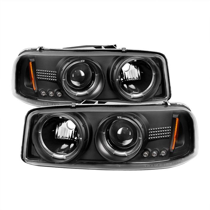 ( Spyder ) GMC Sierra 1500/2500/3500 99-06 / GMC Sierra Denali 02-07 / GMC Yukon 00-06 / GMC Yukon Denali 01-06 Projector Headlights - LED Halo - LED ( Replaceable LEDs ) - Black - High 9005 (Not Incl