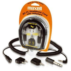 """MAXELL 190399 Headphone Extension Cord & Adapters by Maxell. $8.28. PREMIUM QUALITY 20-FT COIL CORD  PERFECT FOR LIGHTWEIGHT OR FULL-SIZE STEREO HEADPHONES  ADAPTER PLUG CONNECTS FULL-SIZE HEADPHONES TO MONO MINI-RECORDERS & RADIOS  .25"""" PLUG CONNECTS PORTABLE HEADPHONES TO FULL-SIZE EQUIPMENT  DUAL HEADPHONE STEREO ADAPTER CONNECTS 2 SETS OF LIGHTWEIGHT PORTABLE HEADPHONES INTO 1 PLUG JACK"""