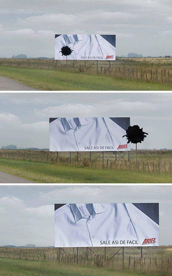 洗剤(アリエール)の屋外広告。素早くキレイになっていく様子を上手く表現しています。<アルゼンチン>