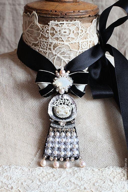 """Купить Брошь-кулон """"La duchesse de Galliera"""". - чёрный, брошь, брошь-кулон, подвеска"""