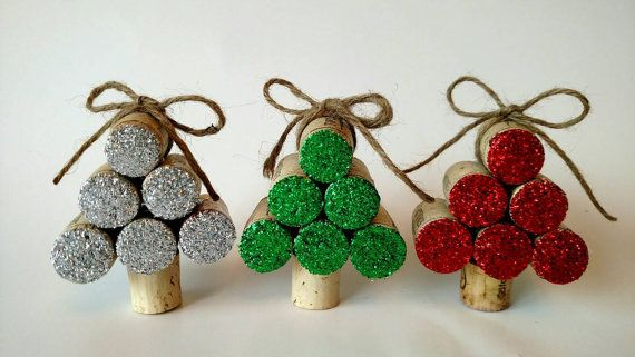 Set of 3 Wine Cork Christmas Tree Ornaments