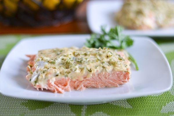 Baked Salmon with Herbed Mayo - sooo good! Fresh salmon, homemade seasoning salt, mayo, lemon, parsley...yummmm!