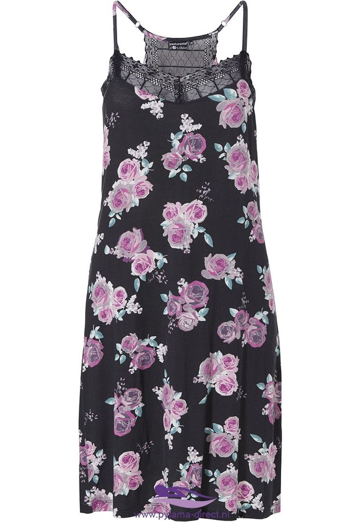 A hint of romance in this 'romantic rose' black and pink modal floral Pastunette Deluxe spaghetti dress with adjustable straps
