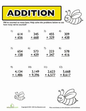 Printables 4th Grade Addition Worksheets 1000 images about addition multiple digits on pinterest fourth grade worksheets bumble bee addition