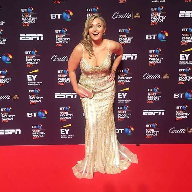 This was how happy I was to wear a bling dress last night for @sportindustry awards. Great fun celebrating the best in the business #loveyourcurves