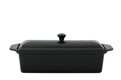 Le Chasseur Black Cast Iron Rectangular Terrine: 1 1/4 Quart by Chasseur. $101.71. Use with all hobs and ovens, except microwaves. An enamel primer coat sealing rims and protecting against corrosion. Size 28 x 11 x 12cm. Solid, high quality cast iron body, double enamelling for longevity. Le chasseur cast iron rectangular terrine: 1 1/4 quart 11 x 6 x 4 3/4 Black