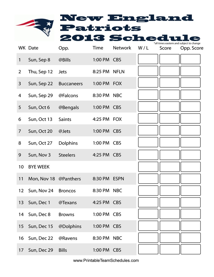 It's just a photo of Luscious New England Patriots Printable Schedule