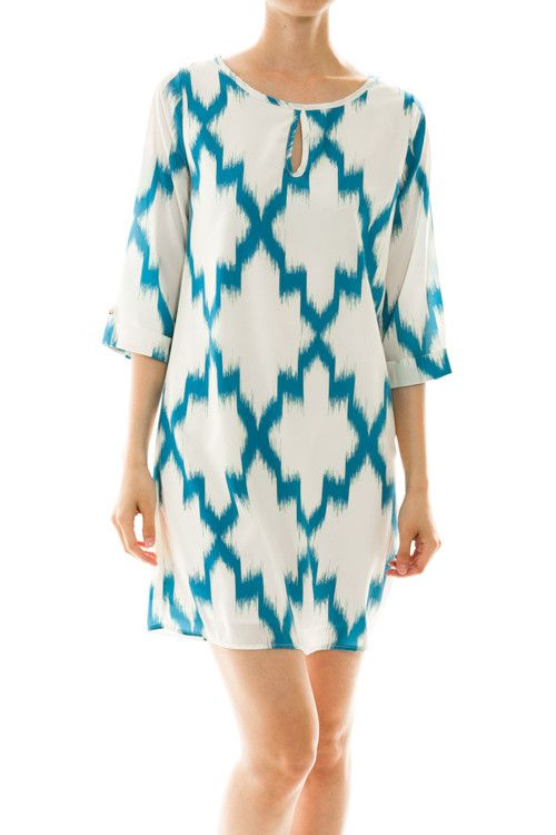 "Blue Ikat, 3/4 length cuffed sleeve Lined 100% polyester Length Measures Small 31"" Medium 32"" Large 33"""