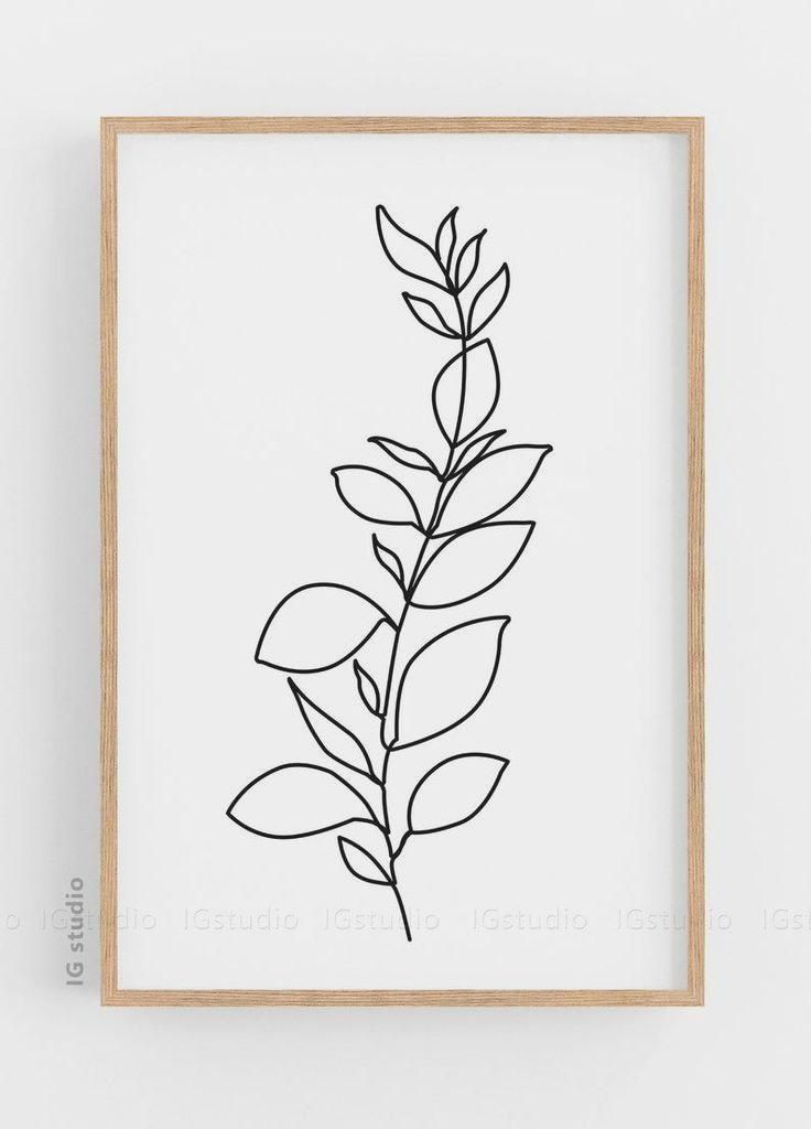 Printable Botanical Poster Botanical Line Drawing Minimalist Art Leaf Line Art Scandinavian Art M In 2020 Minimalist Wall Decor Botanical Line Drawing Botanical Poster