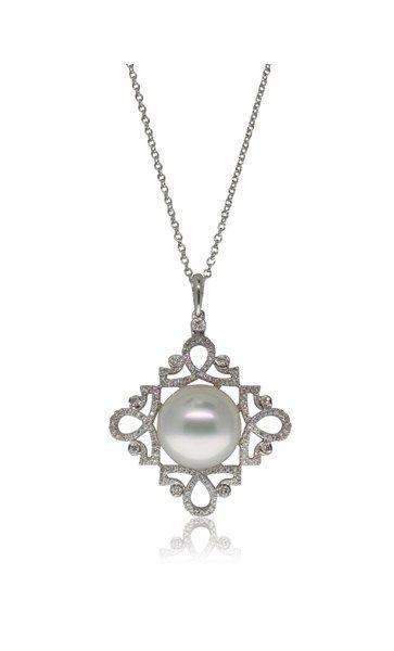 18ct white gold south sea pearl & diamond pendant
