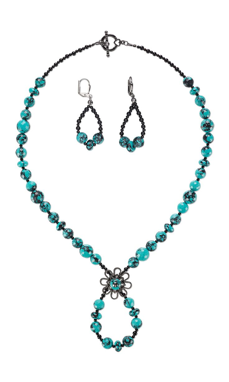 jewelry design single strand necklace and earring set with turquoise beads black onyx beads and gunmetal plated brass component fire mountain gems and