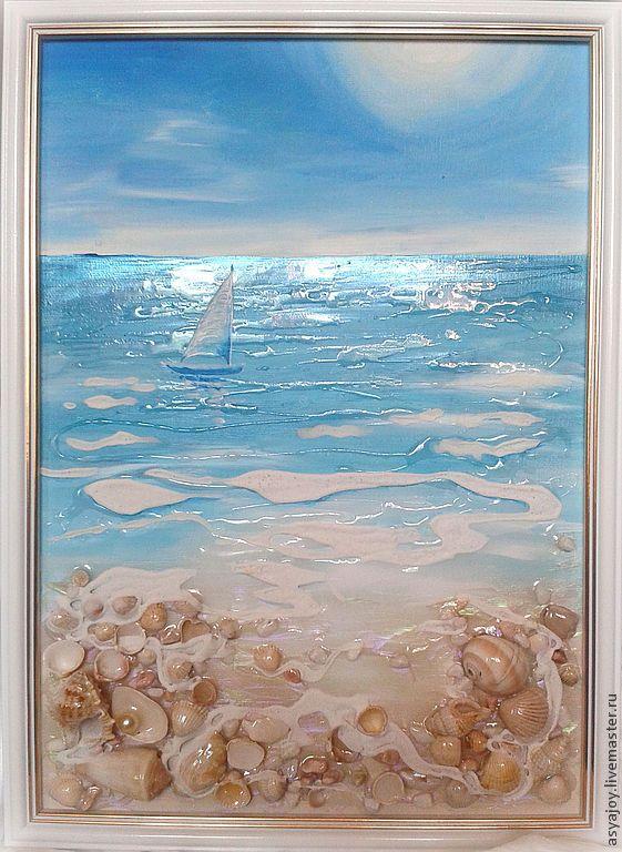 Купить Морское панно «Шепот волн» - морская волна, море, ракушки, морская тема