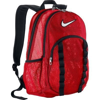 LARGE NIKE MESH BACKPACK RED / BLACK BAG SPORTS GYM TRAVEL SCHOOL SEE THROUGH