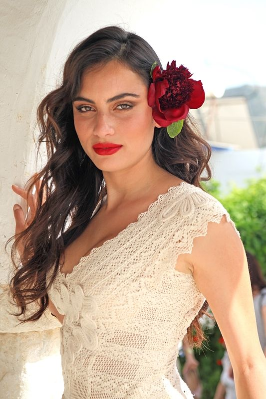 Mod Eris, Hellenic Vintage collection. Mod Eris made of cotton lace with impeccable craftsmanship and unique handmade detailed embroidery.Red flowers on the head for a unique vintage look.