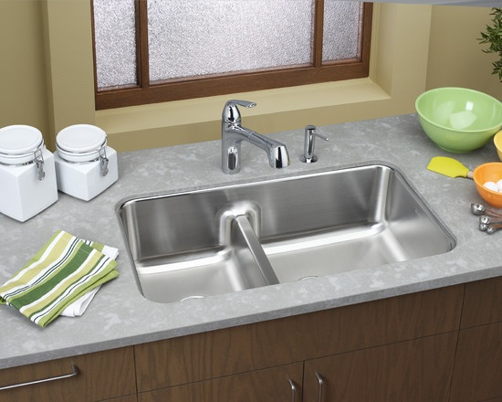 Elkay 32 Inch Undermount Double Bowl Stainless Steel Sink With 9 Inch Bowl  Depths, Inch Drains, Sound Guard Undercoating, Satin Finish And Reversible  Design