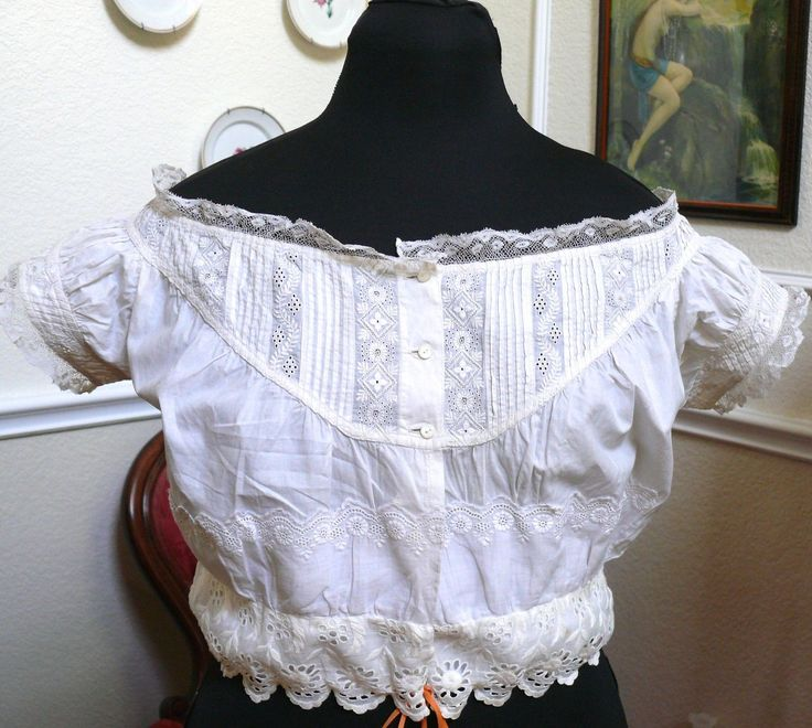 """1850 60 Antique Corset Cover Camisole Chemise Cotton Off The Shoulders Design 