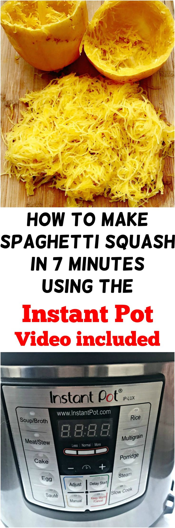 how to make spaghetti squash in 7 minutes using the Instant Pot. DIY recipe video tutorial
