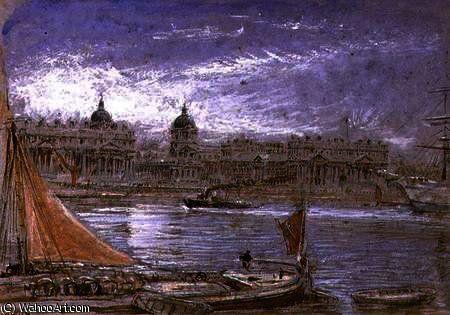 Vue de Greenwich de la Tamise de Albert Goodwin (1845-1932, United Kingdom)