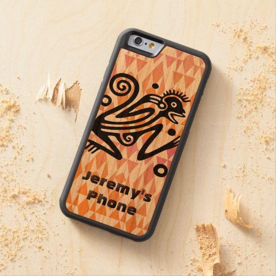Vintage Aztec Monkey Personalized Wood Cellphone Case