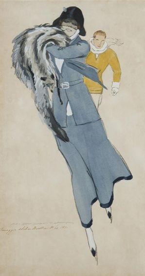 Fashion illustration by Marcello Dudovich (1878-1962), 1920, Skater. (Italy)