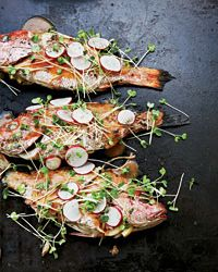 Asian-Style Grilled Whole Red Snapper with Radish Salad Recipe on Food & Wine - made May 2013. Very good, doesn't need the radish salad. Followed the directions exactly.