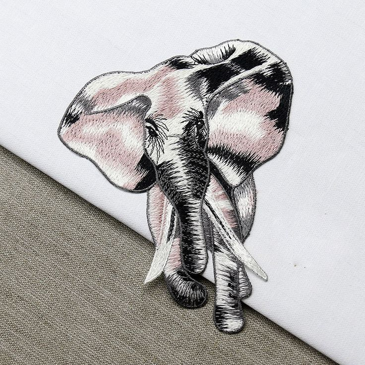 New high quality  2pcs/set embroidery patches for clothes, big pcs elephant design parches sew on patches for clothing