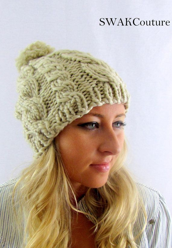 Cable Knit Hat Wool Pom Pom Beanie Cap Chunky by SWAKCouture, $36.00