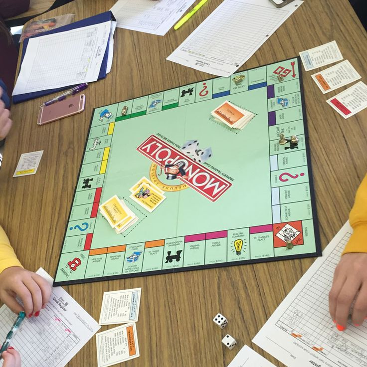 Practice Debit/Credit & Personal Finance with Monopoly - learning objective: Keep a running balance on a checking account. Instead of cash students played with a checkbook register.