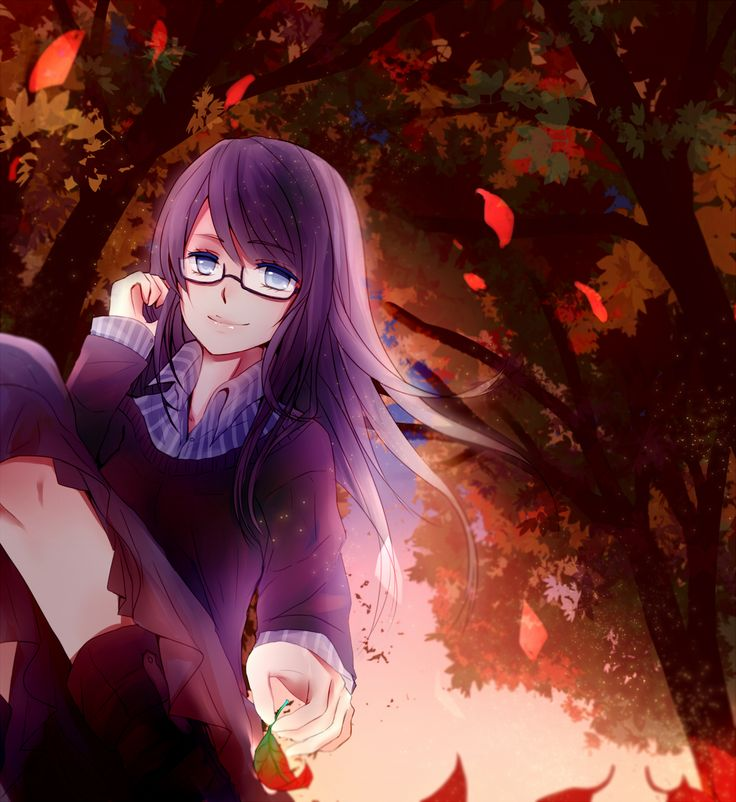 Sexy anime girl with glasses