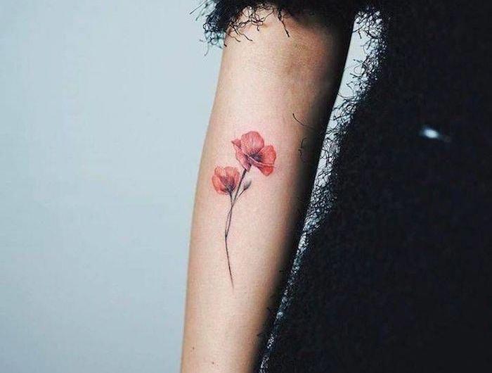 Tatouage Fleur Coquelicot Relief Realiste Rose Sur Le Bras Tattoos