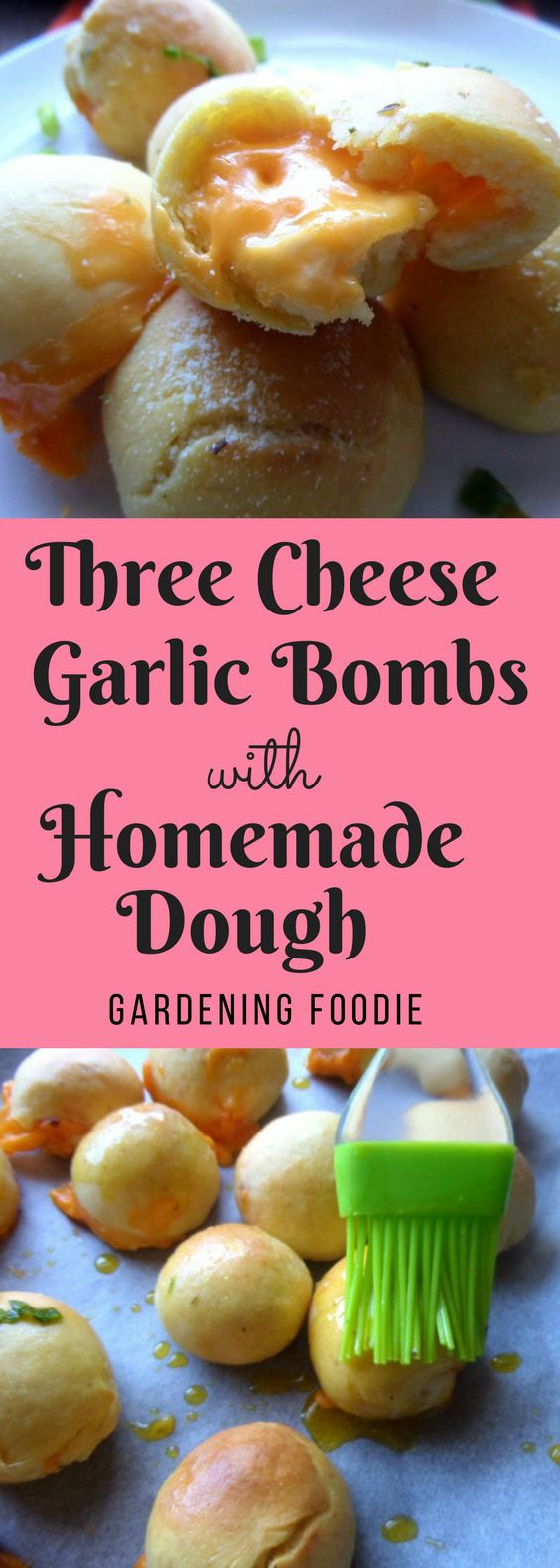 My recipe for Three Cheese Garlic Bombs with Homemade Dough will make a delicious addition to your appetizer platter. A buttermilk rich crust, filled with cream cheese, baked and then brushed with a garlic herb butter and rolled in parmesan, watch these delicious little bites disappear off the plate in record time