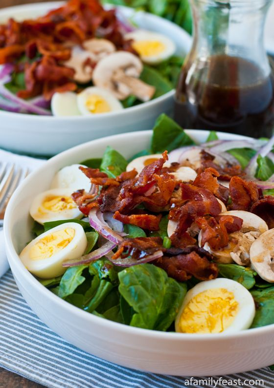 Spinach Salad with Warm Bacon Dressing | with Pin-It-Button on http://www.afamilyfeast.com/spinach-salad-with-warm-bacon-dressing/