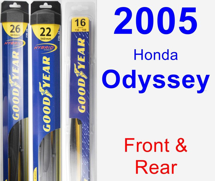 Front & Rear Wiper Blade Pack For 2005 Honda Odyssey