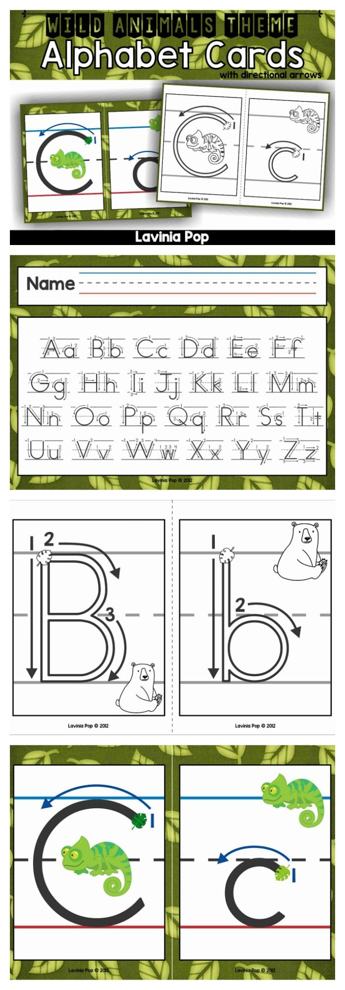 alphabet handwriting cards with directional arrows wild animals animals alphabet cards and. Black Bedroom Furniture Sets. Home Design Ideas