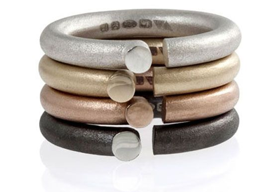 'Parody' rings in Fairtrade rose and yellow gold, silver and black rhodium plated silver by Jeanne Marell