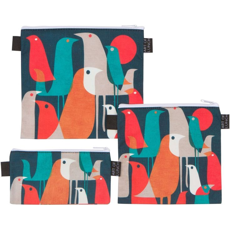Amazon.com: Reusable Sandwich & Snack Baggies by ART OF LUNCH - Set of 3 Designer Sandwich Bags - A Partnership with Artists Around the World - Design by Budi Kwan (Indonesia) - Flock of Birds: Kitchen & Dining